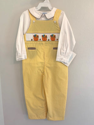 Thanksgiving Smocked Boys Overall Shirt Set