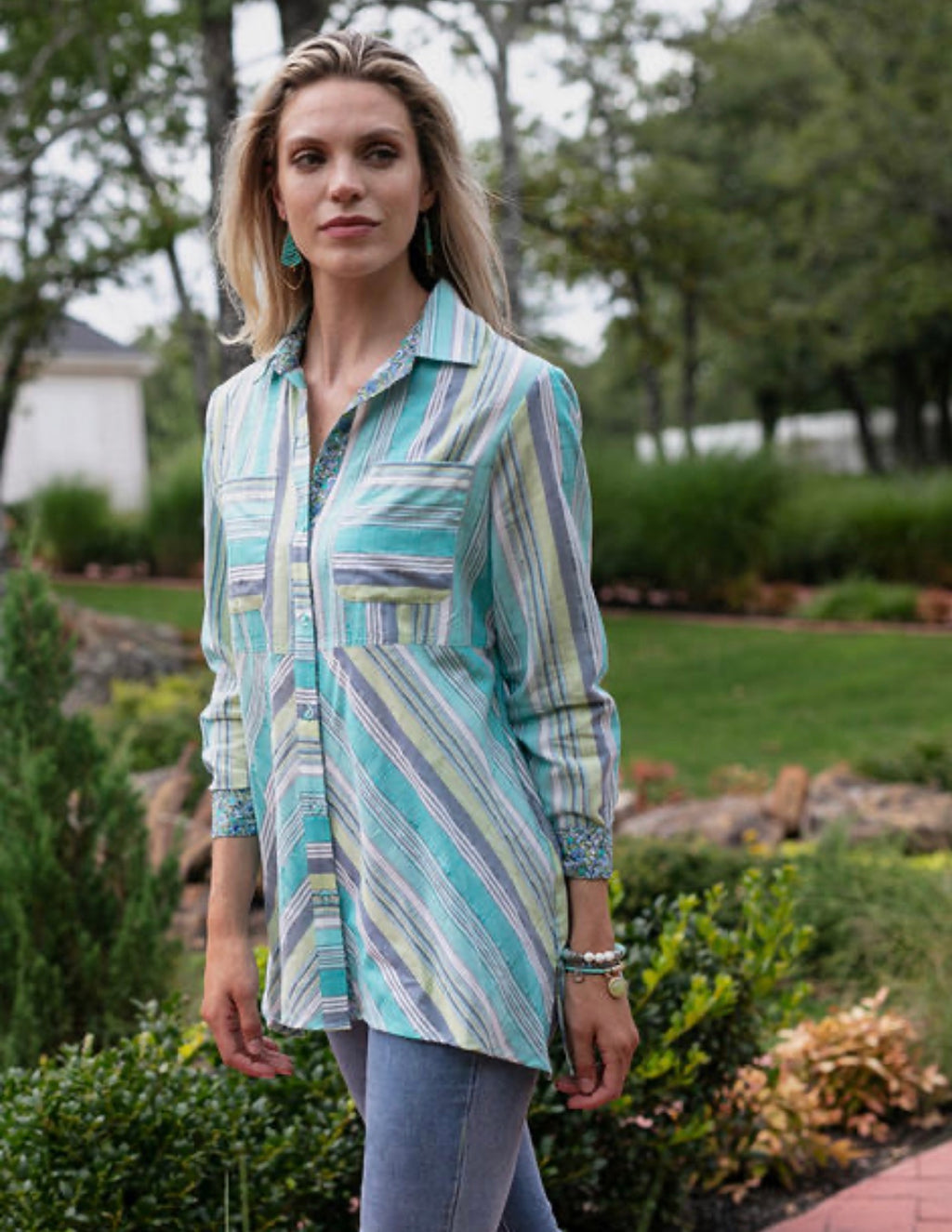 Casual Glamour Mixed Print Shirt