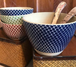 Dot Tall Salad Bowl Cobalt