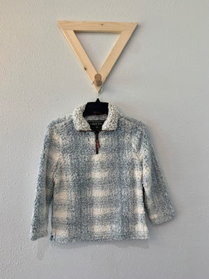 Youth Plaid Frosty Tipped Blue Pullover