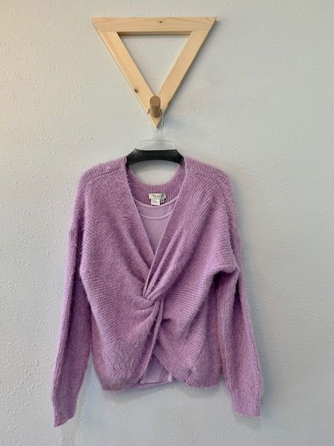 Twist Front Drape Sweater With Tank Lavender