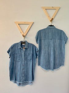 Cap Sleeve Chambray Top With Raw Hem