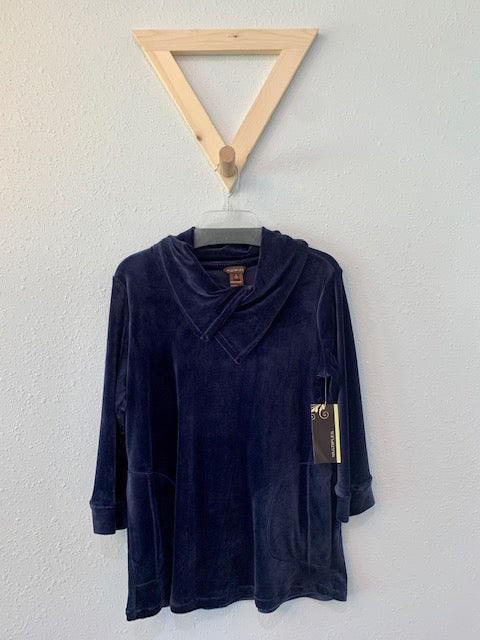 Cowl Neck Velour Top Navy