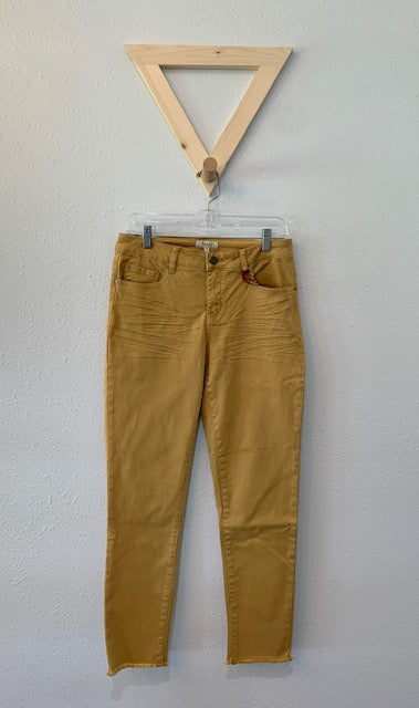 Skinny Ankle Jean With Frayed Hem Caramel