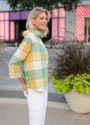 Crinkle Check Funnel Neck Top