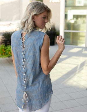 Venetian Dream Denim Top With Back Lace