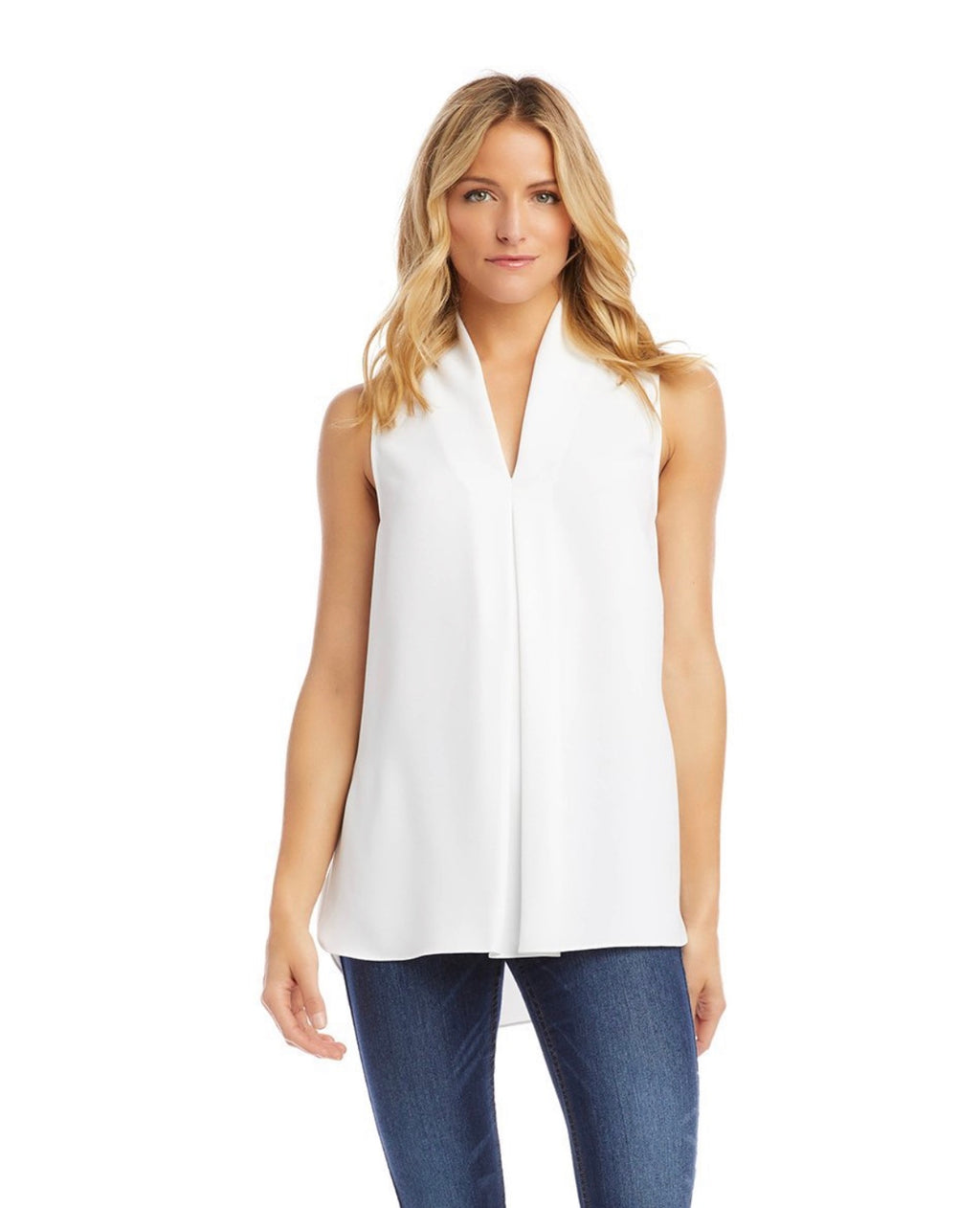 Riviera Front Pleat Top Off White