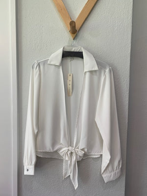 Tie Front Top Off White
