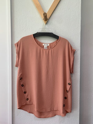 Woven Top With Side Buttons Peach