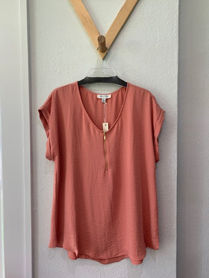 V-Neck Top With Front Zipper Peach