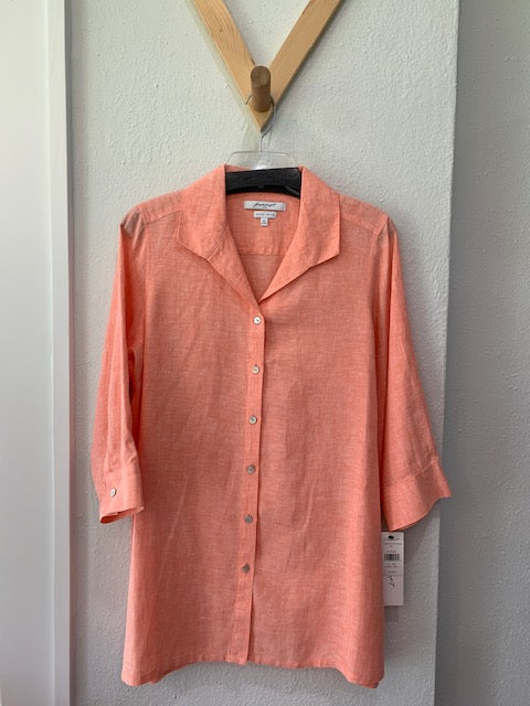 Stirling Non Iron Linen Tunic Coral Twist