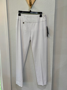 Pull On Knit Ankle Pant White