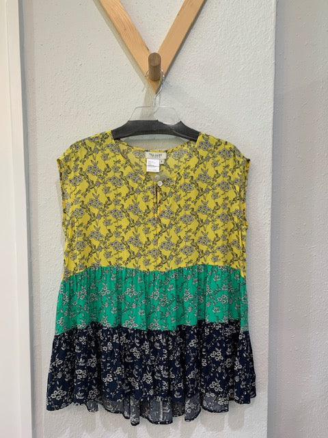 Mixed Print Tiered Top