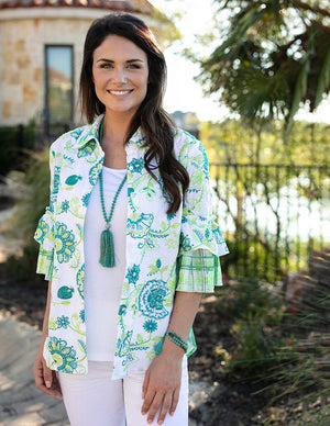 Embroidered Blouse with Flounce Sleeve