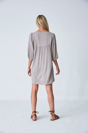 Jaipur Smock Dress in Silver Cloud