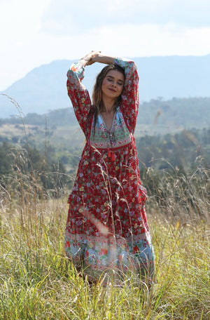 Miriam Boho Dress - Rocco Red