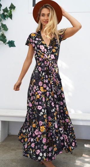 Flutter sleeve Maxi dress - Midnight floral
