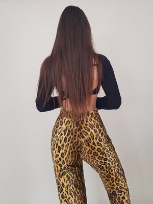 "LEOPARD FLUFFY ""DINGO"" TROUSERS  // WIDE LEG"