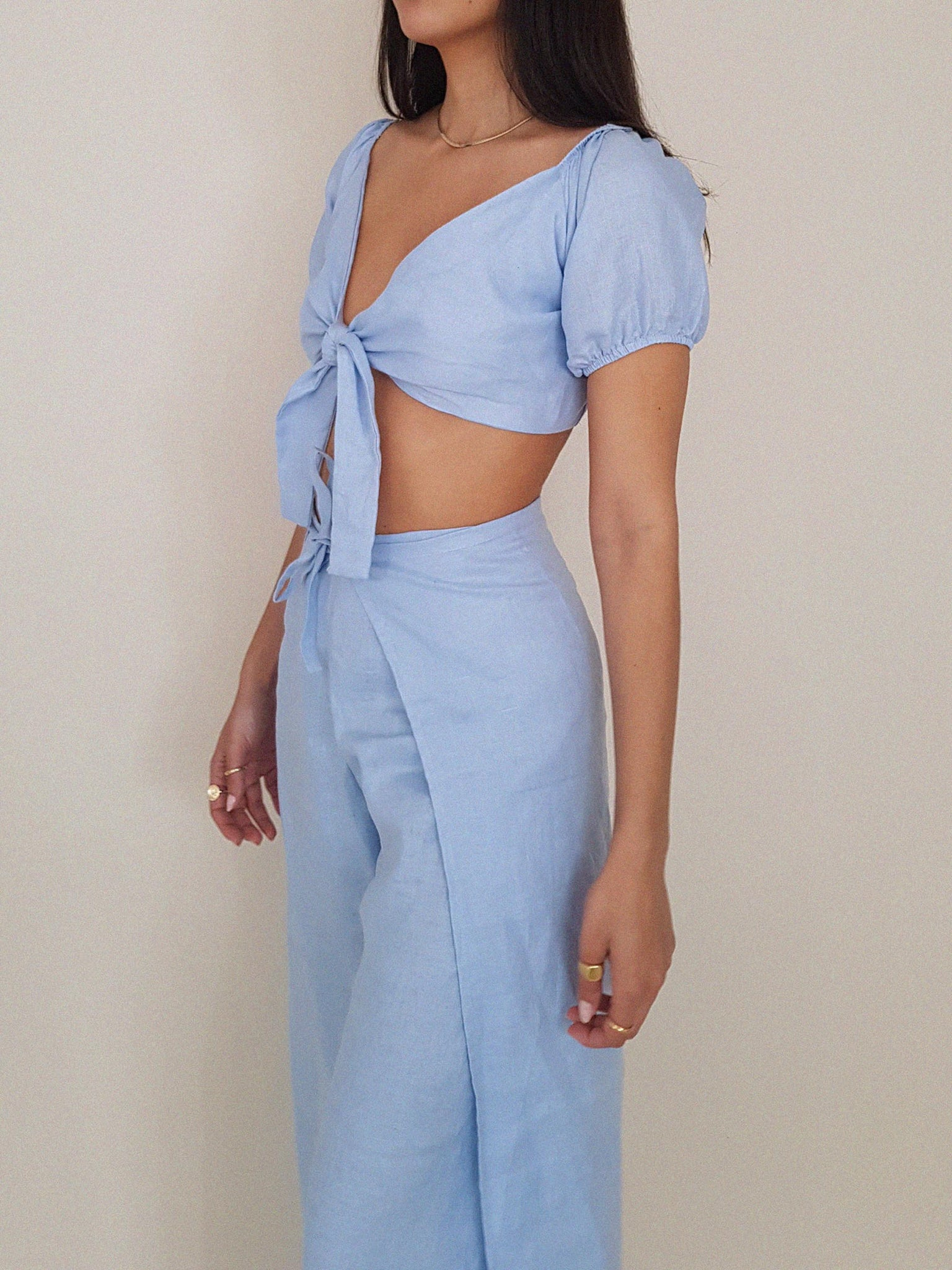 BLUE LOTUS TOP LINEN // handmade