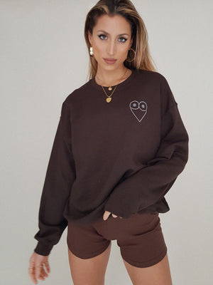 TRICIRCULO EMBROIDERY  SWEATSHIRT // brown