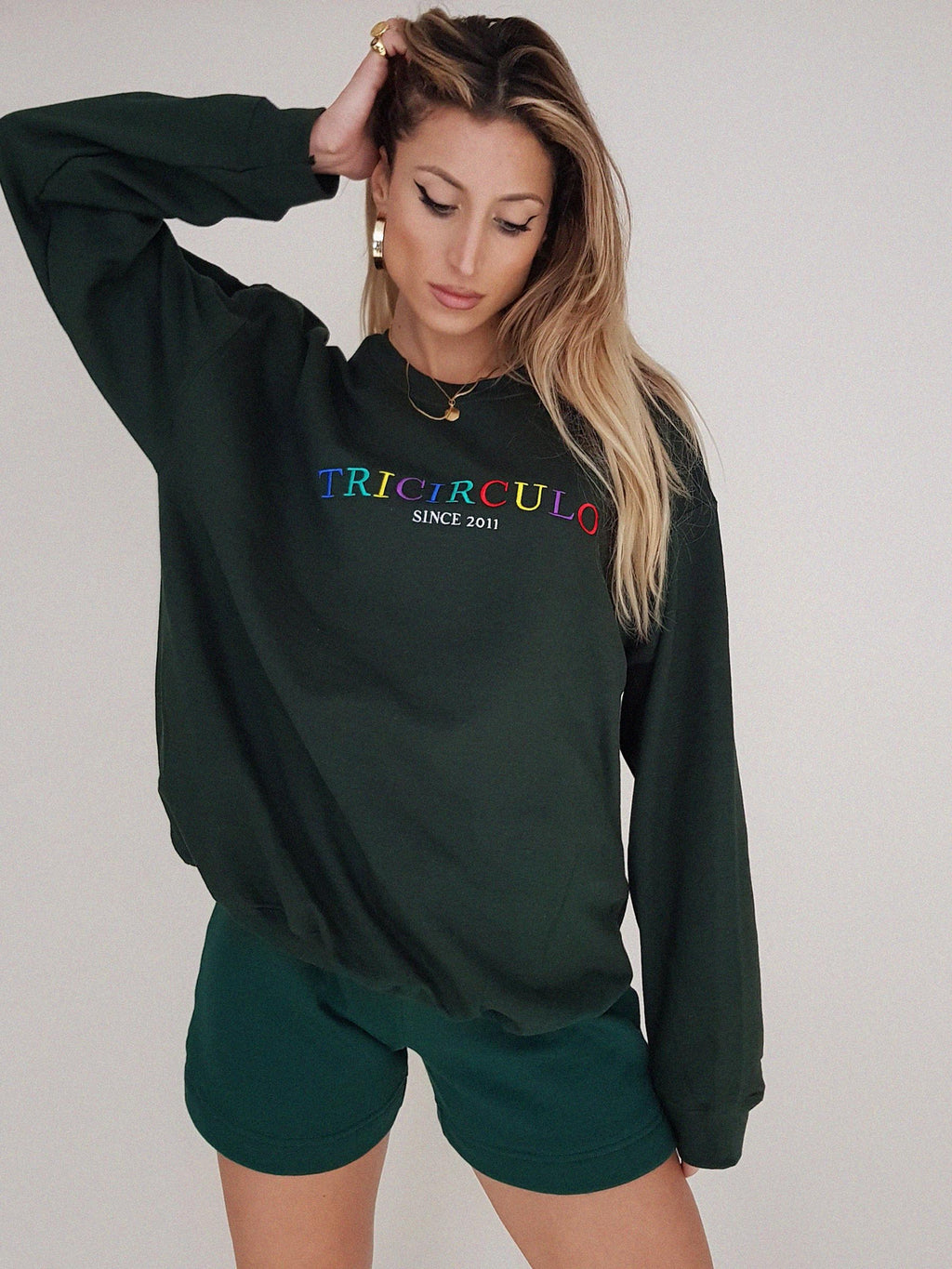 TRICIRCULO EMBROIDERY  SWEATSHIRT // GREEN