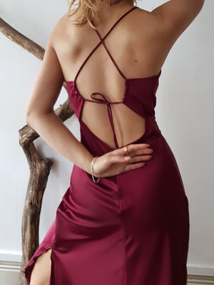 WINE HANNA LONG DRESS // handmade