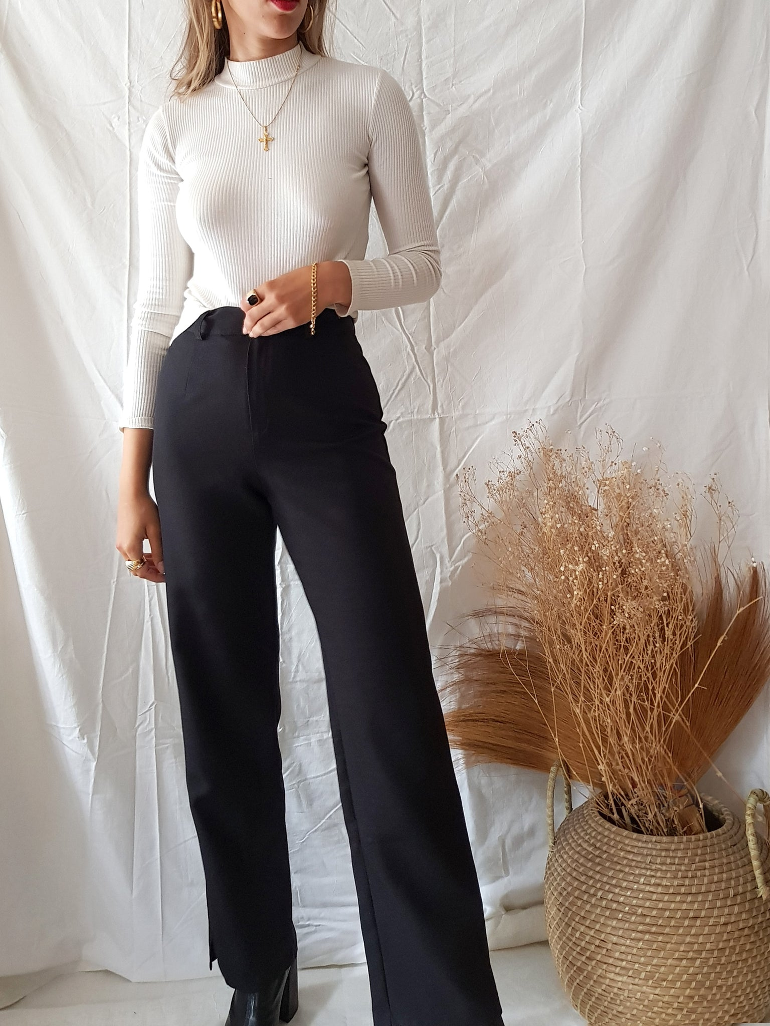 "BLACK ""DINGO"" TROUSERS // WIDE LEG"
