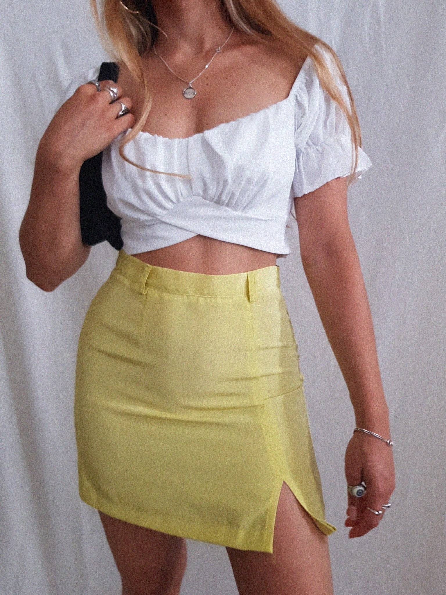 YELLOW CUTY SKIRT