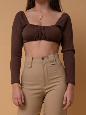 BROWN FLUFFY TOP ~ LONG SLEEVE