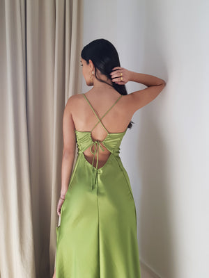 GREEN HANNA LONG DRESS // handmade