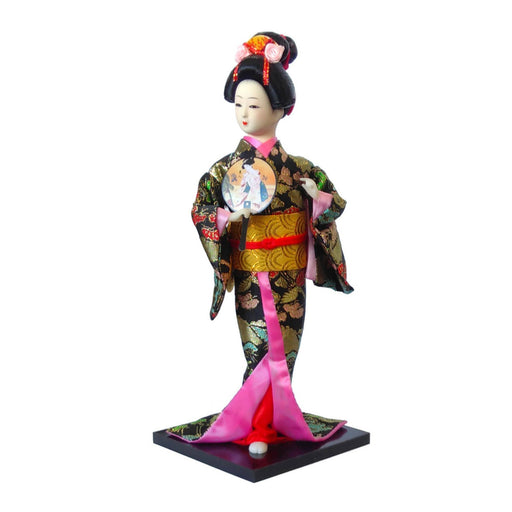 Japanese lady in black kimono with round fan - Simply Utopia