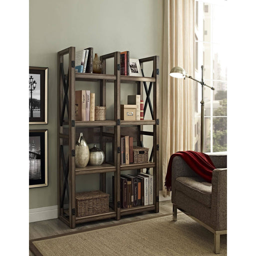 Wildwood Multifunctional Rustic Bookcase With 8 Open Shelves - Simply Utopia