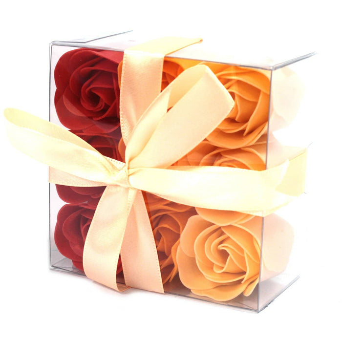 Set of 9 Soap Flower Box - Peach Roses - Simply Utopia