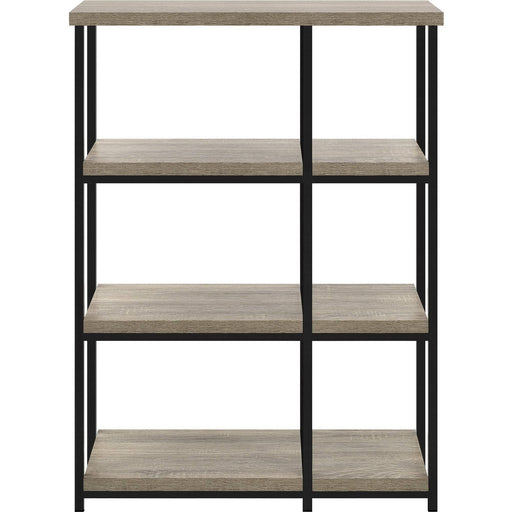 Elmwood Textured Light Oak Finish Bookcase With Black Metal Legs - Simply Utopia