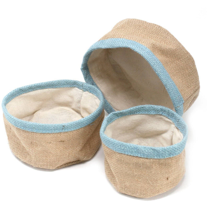 Set of 3 Natural Jute Baskets - Teal - Simply Utopia