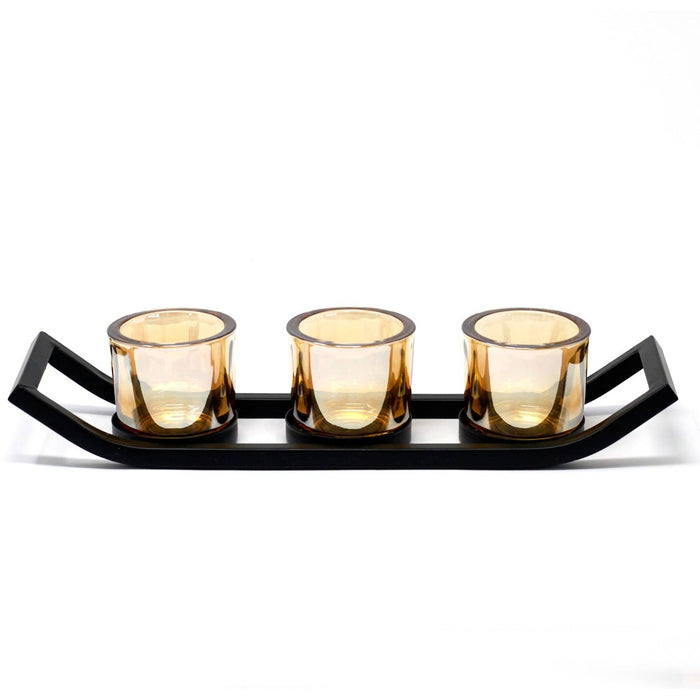 Centrepiece Iron Votive Candle Holder - 3 Cup Ledge - Simply Utopia