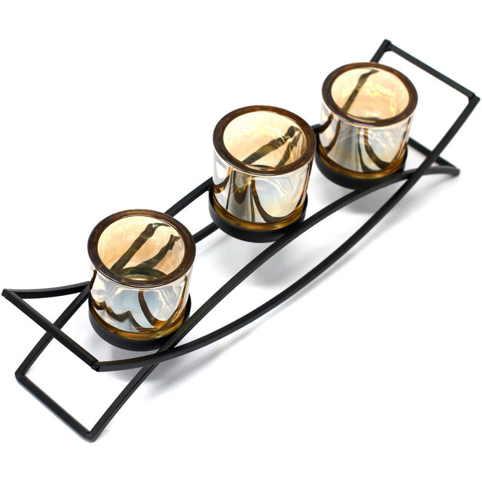 Centrepiece Iron Votive Candle Holder - 3 Cup Silluethe - Simply Utopia