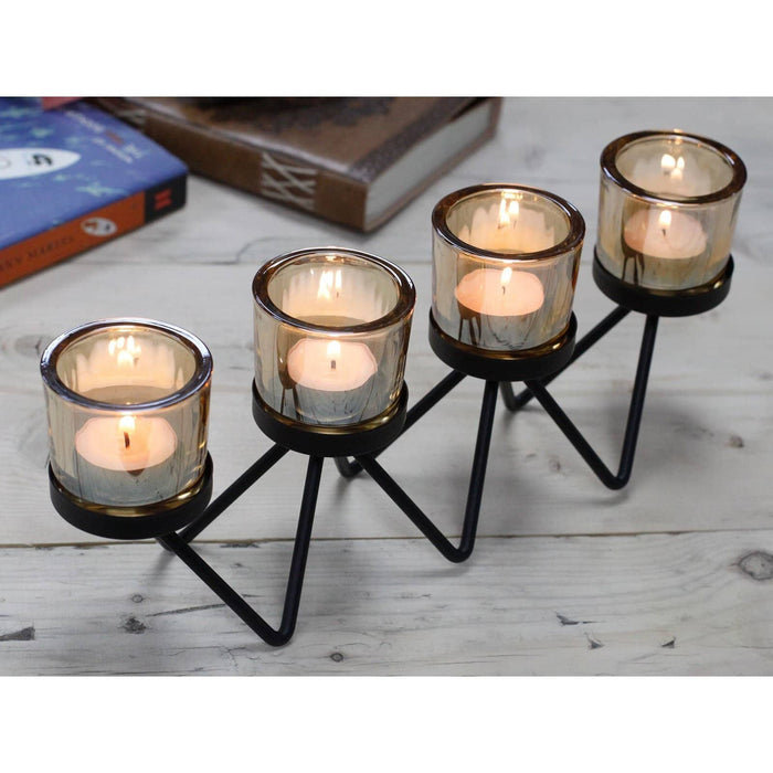 Centrepiece Iron Votive Candle Holder - 4 Cup Zig Zag - Simply Utopia