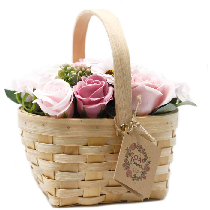 Large Pink Bouquet in Wicker Basket - Simply Utopia