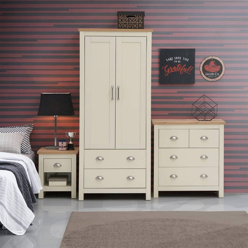 Lisbon 3 Piece Set (2 Door Wardrobe, 2+2 Chest, 1 Drawer Bedside) - Simply Utopia