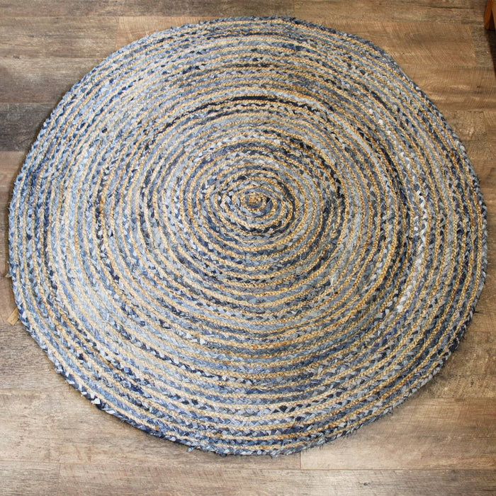 Round Jute and Recycle Denim Rug - 150 cm - Simply Utopia