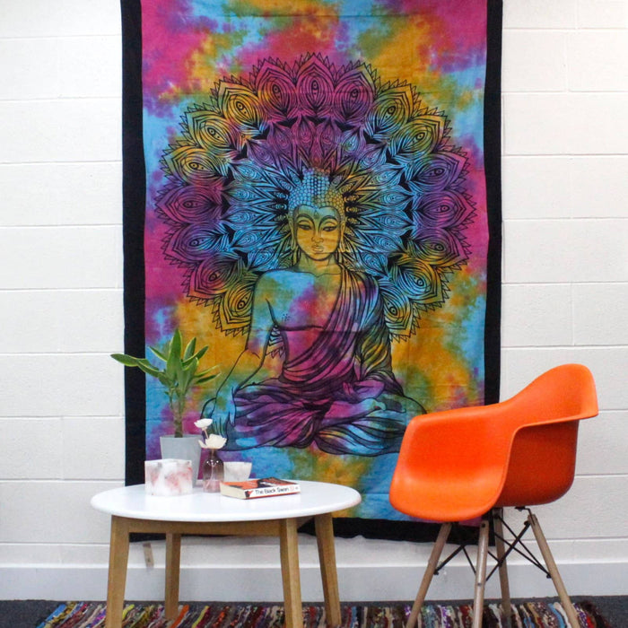 Single Cotton Bedspread + Wall Hanging - Chakra Buddha - Simply Utopia
