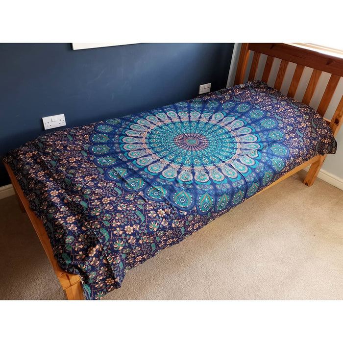 Single Cotton Bedspread + Wall Hanging - Classic Mandala - Simply Utopia