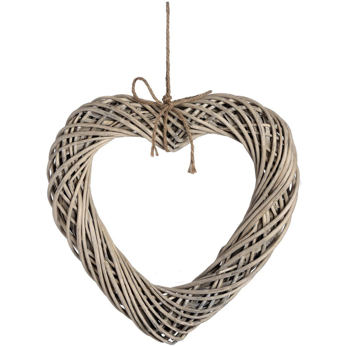Large Wicker Hanging Heart with Rope Detail - Simply Utopia