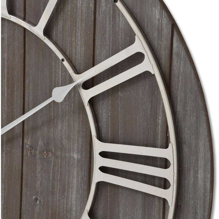 Wooden Clock With Contrasting Nickel Detail - Simply Utopia