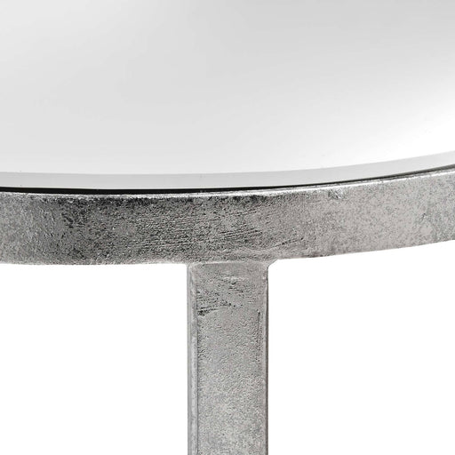 Mirrored Silver Half Moon Table With Cross Detail - Simply Utopia
