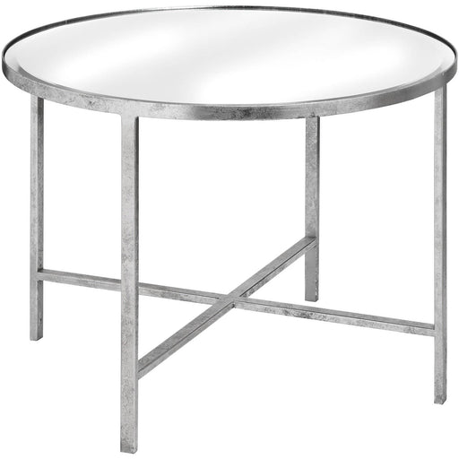 Large Mirrored Silver Side Table With Cross Detail - Simply Utopia