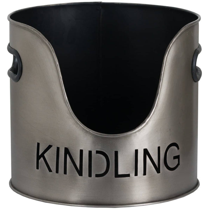 Log And Kindling Bucket With Matchstick Holder In Aged Pewter - Simply Utopia