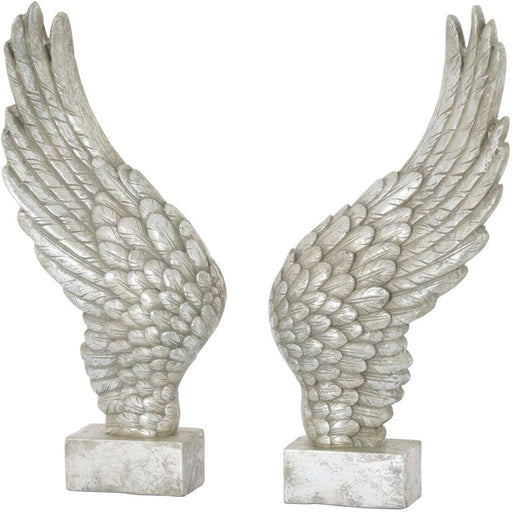 Large Freestanding Antique Silver Angel Wings Ornament - Simply Utopia