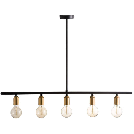 Black And Brass Industrial Five Bulb Bar Light - Simply Utopia